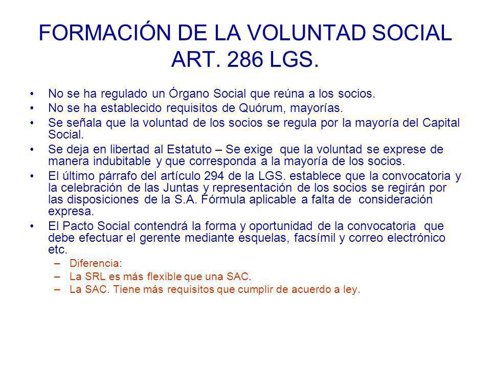 FORMACIÓN DE LA VOLUNTAD SOCIAL ART. 286 LGS.