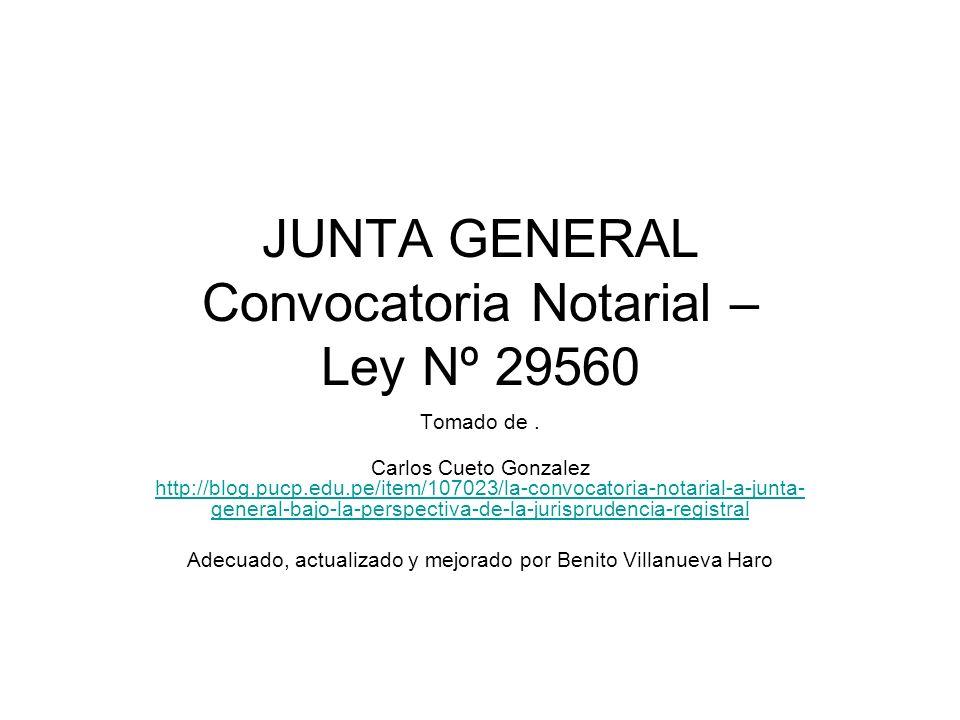 JUNTA GENERAL Convocatoria Notarial – Ley Nº 29560