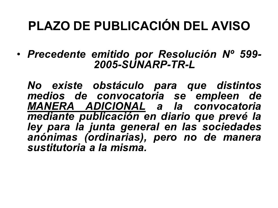PLAZO DE PUBLICACIÓN DEL AVISO