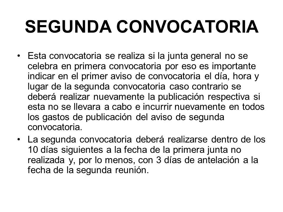 SEGUNDA CONVOCATORIA