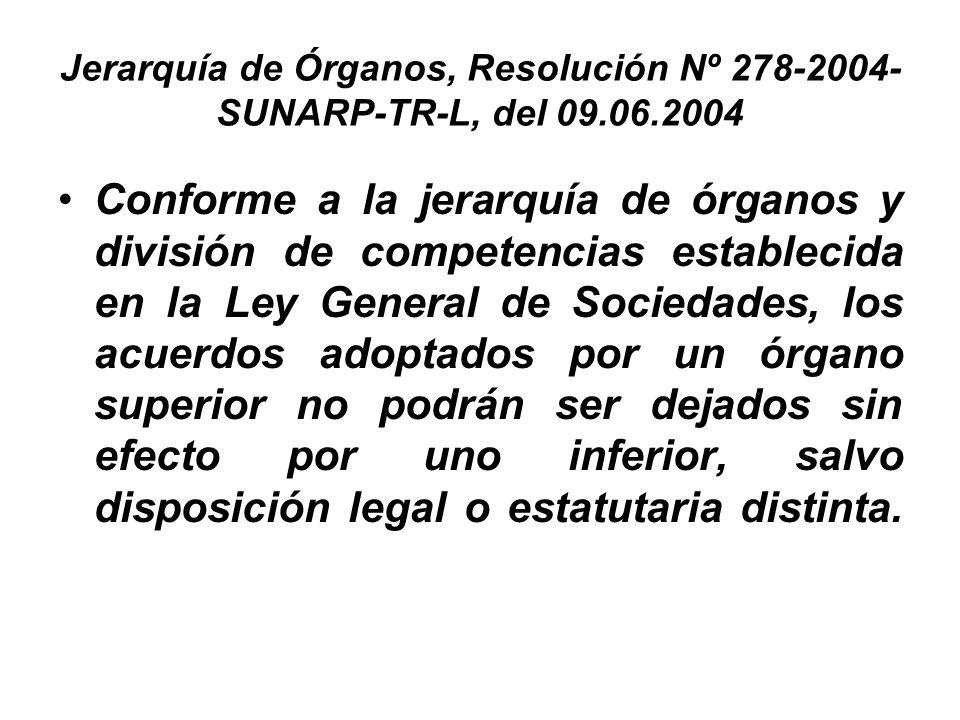 Jerarquía de Órganos, Resolución Nº 278-2004-SUNARP-TR-L, del 09. 06