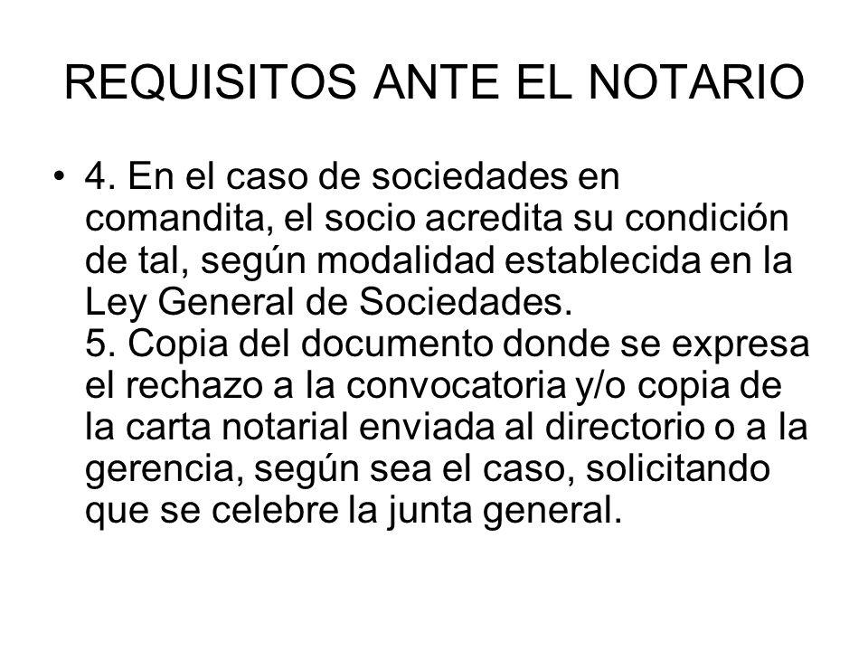 REQUISITOS ANTE EL NOTARIO