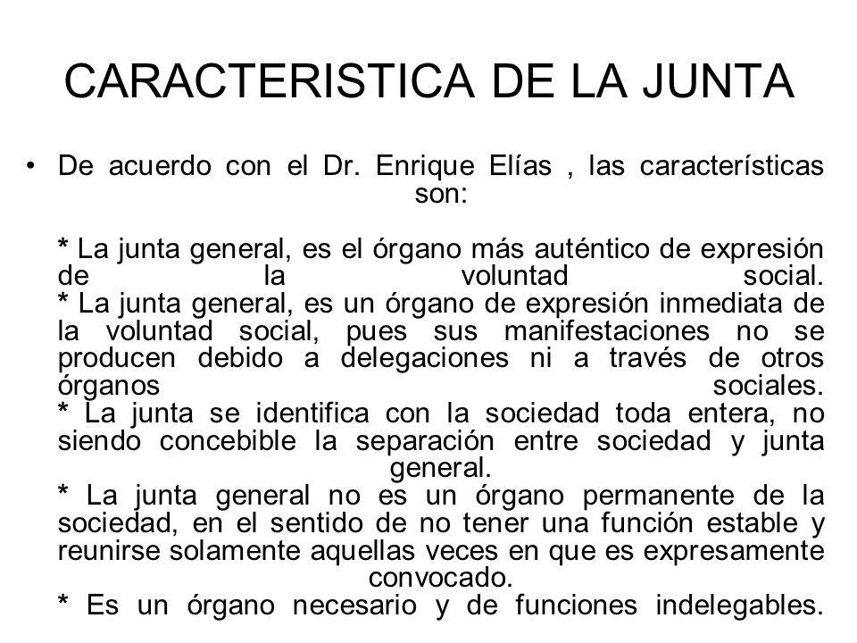 CARACTERISTICA DE LA JUNTA