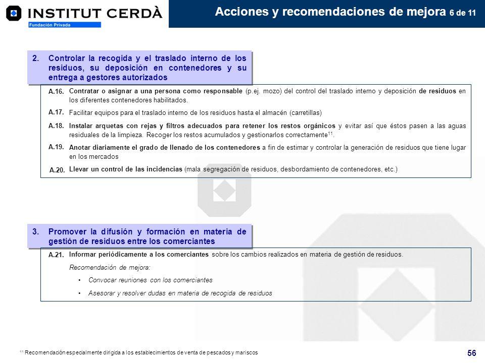 Acciones y recomendaciones de mejora 6 de 11