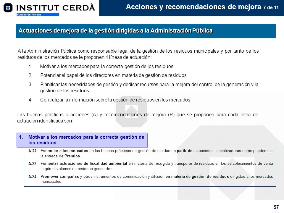 Acciones y recomendaciones de mejora 7 de 11