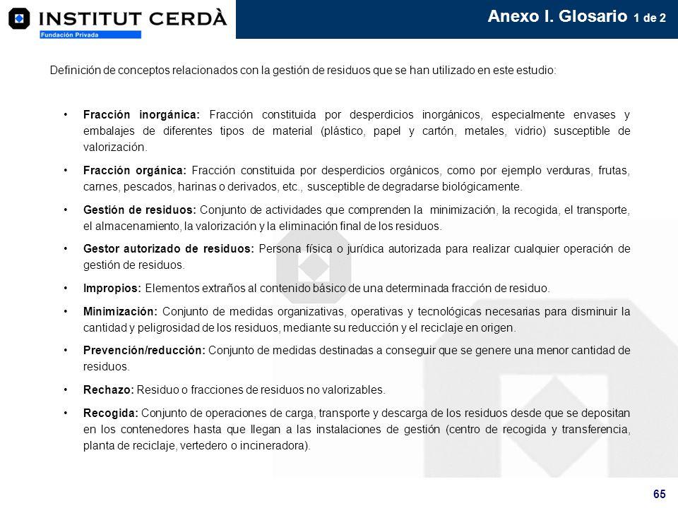 Anexo I. Glosario 1 de 2Definición de conceptos relacionados con la gestión de residuos que se han utilizado en este estudio: