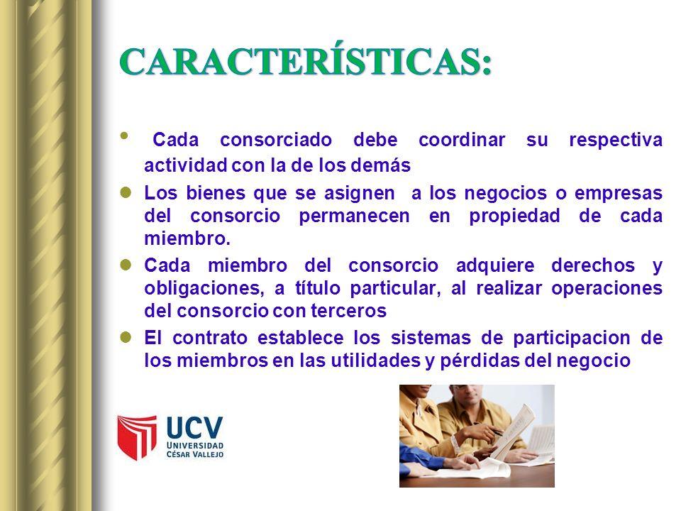 CARACTERÍSTICAS:Cada consorciado debe coordinar su respectiva actividad con la de los demás.