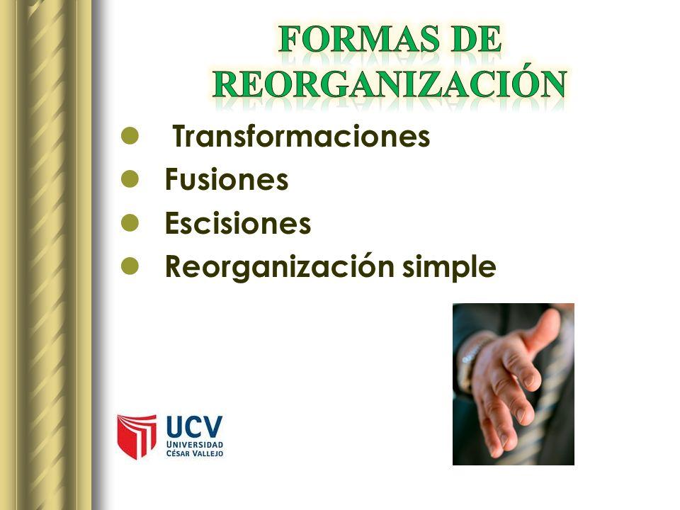 FORMAS DE REORGANIZACIÓN