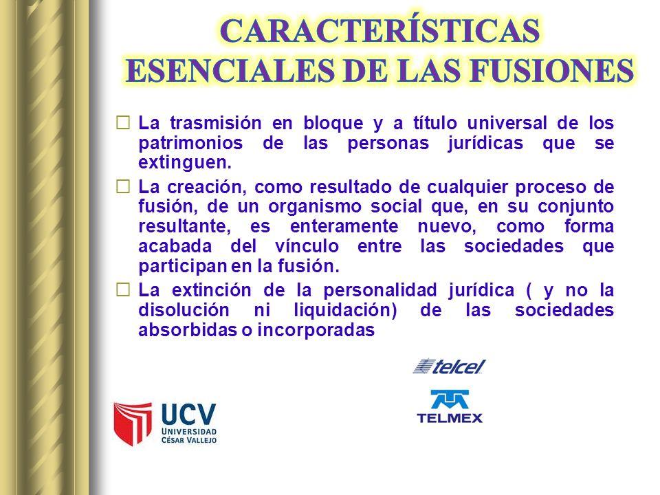 CARACTERÍSTICAS ESENCIALES DE LAS FUSIONES