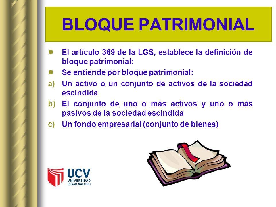 BLOQUE PATRIMONIAL El artículo 369 de la LGS, establece la definición de bloque patrimonial: Se entiende por bloque patrimonial: