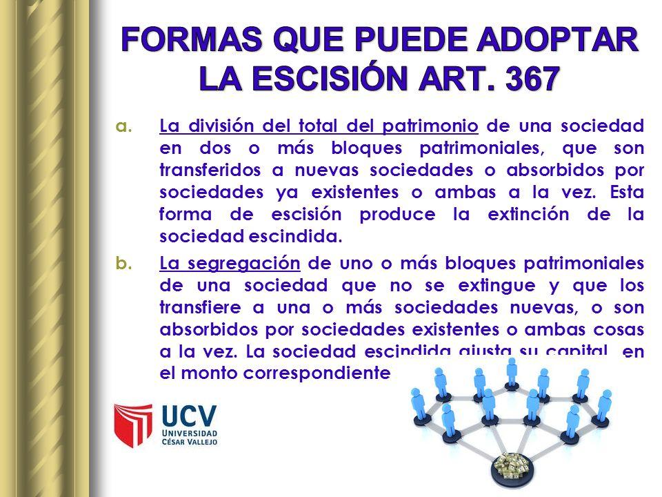 FORMAS QUE PUEDE ADOPTAR LA ESCISIÓN ART. 367