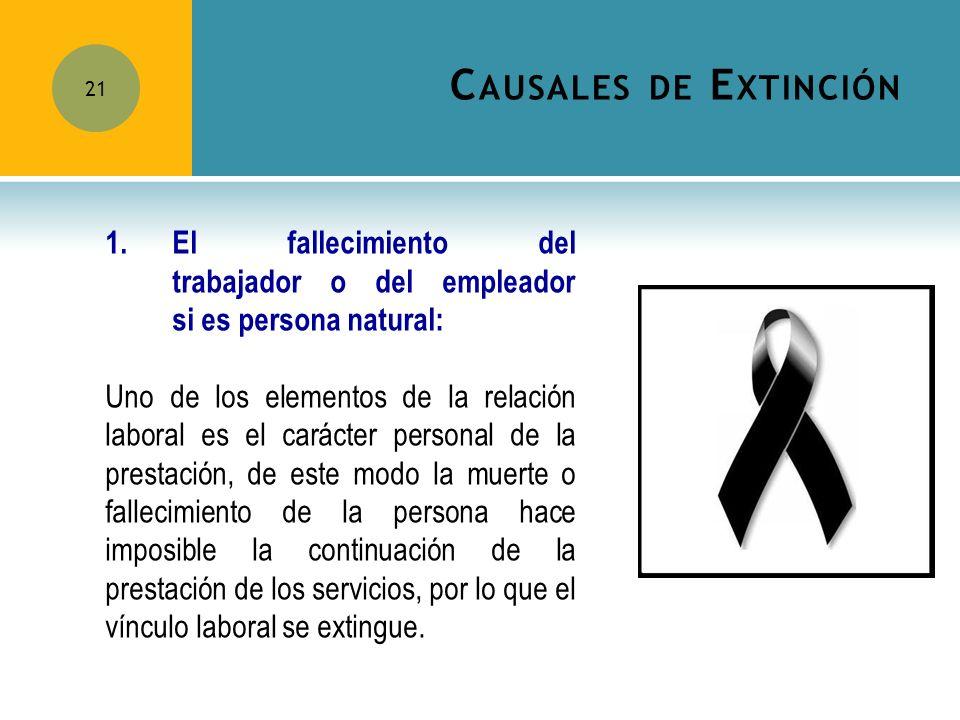 Causales de Extinción 1. El fallecimiento del trabajador o del empleador si es persona natural: