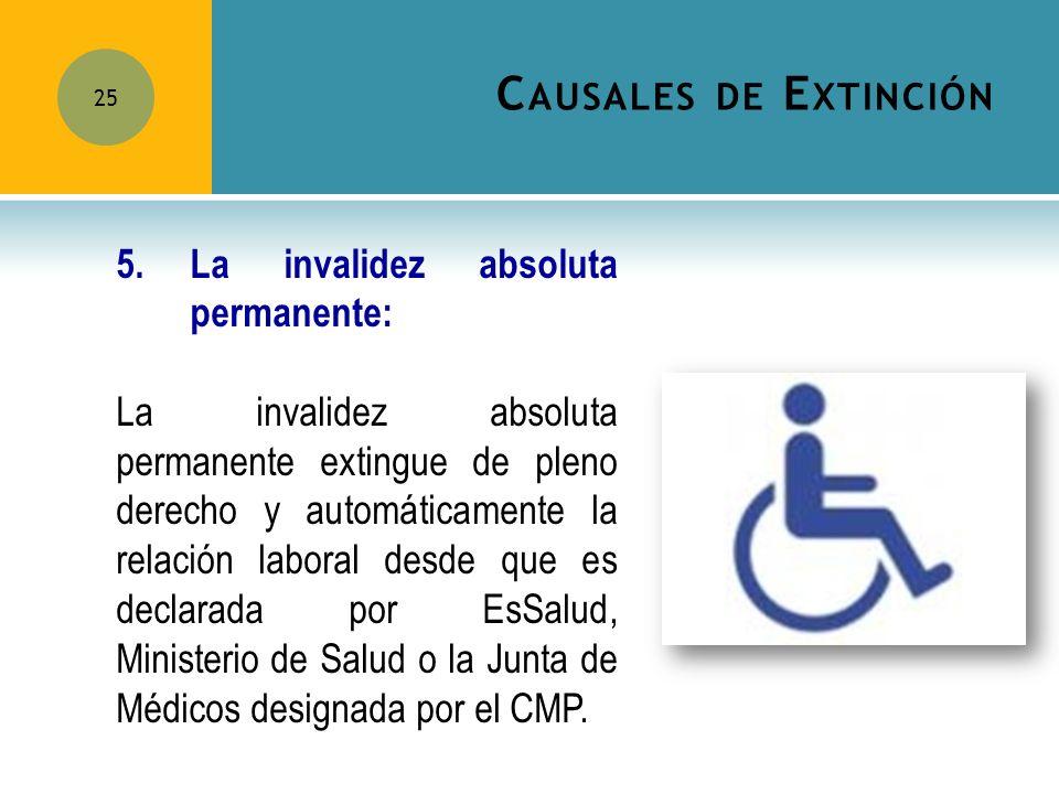 Causales de Extinción 5. La invalidez absoluta permanente: