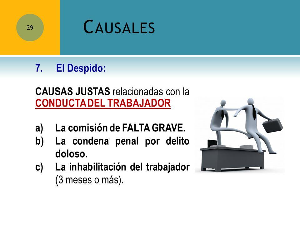 Causales 7. El Despido: CAUSAS JUSTAS relacionadas con la CONDUCTA DEL TRABAJADOR. La comisión de FALTA GRAVE.