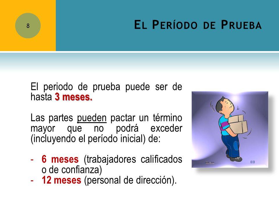 El Período de Prueba El periodo de prueba puede ser de hasta 3 meses.