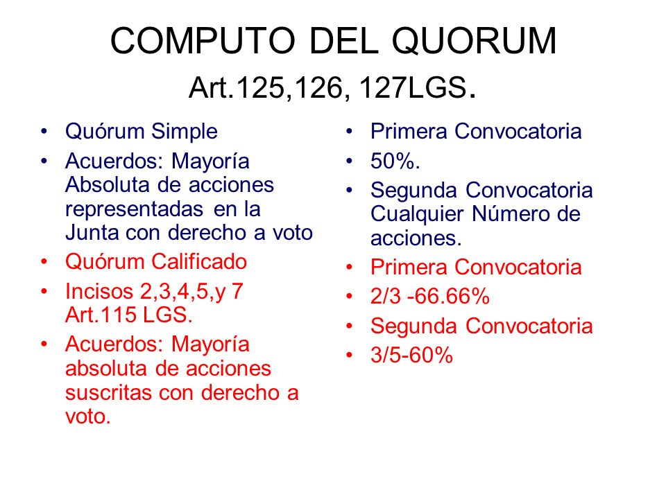 COMPUTO DEL QUORUM Art.125,126, 127LGS.