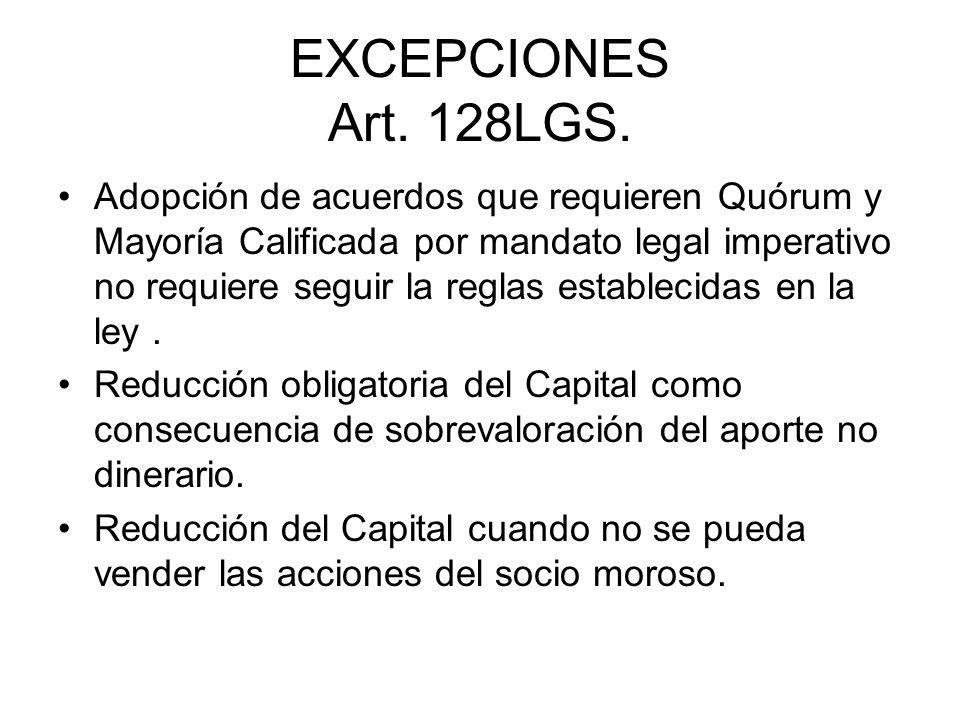 EXCEPCIONES Art. 128LGS.