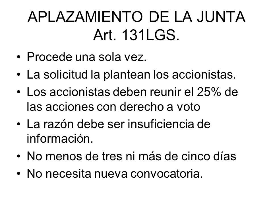 APLAZAMIENTO DE LA JUNTA Art. 131LGS.