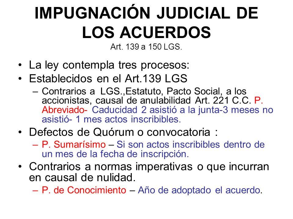 IMPUGNACIÓN JUDICIAL DE LOS ACUERDOS Art. 139 a 150 LGS.