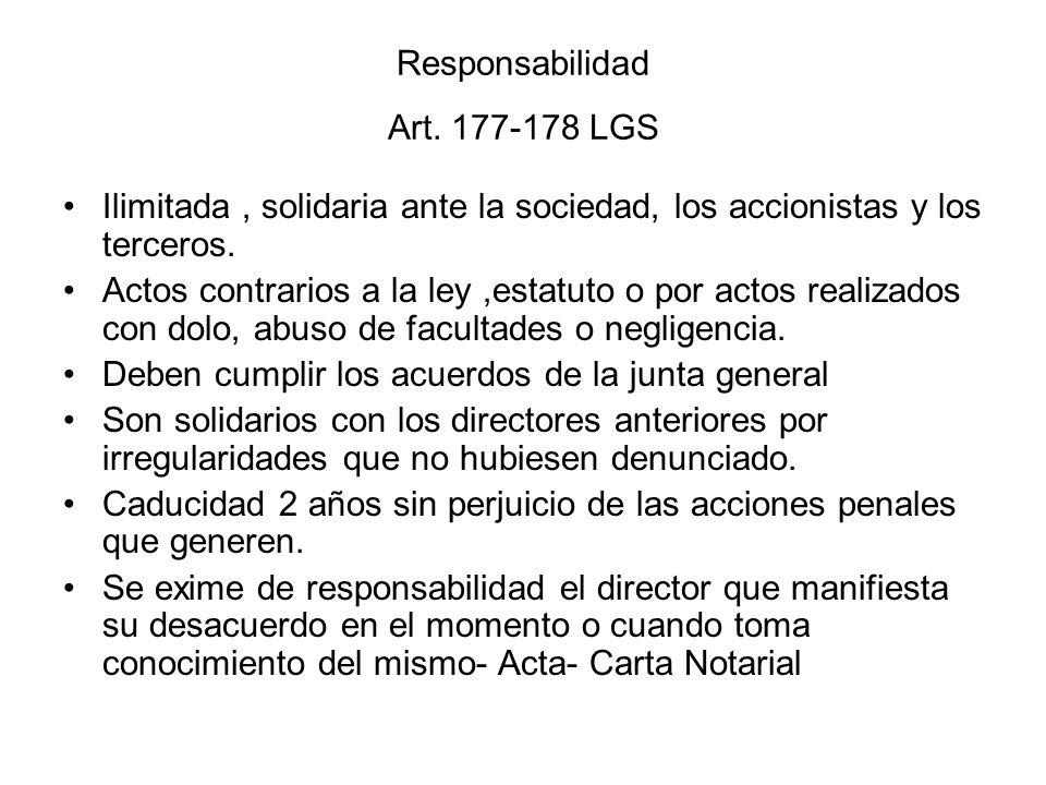Responsabilidad Art. 177-178 LGS