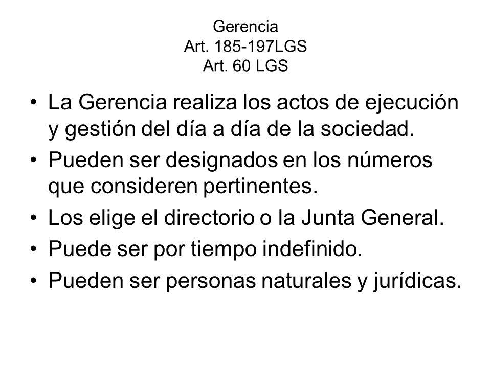 Gerencia Art. 185-197LGS Art. 60 LGS