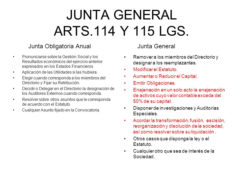 JUNTA GENERAL ARTS.114 Y 115 LGS.