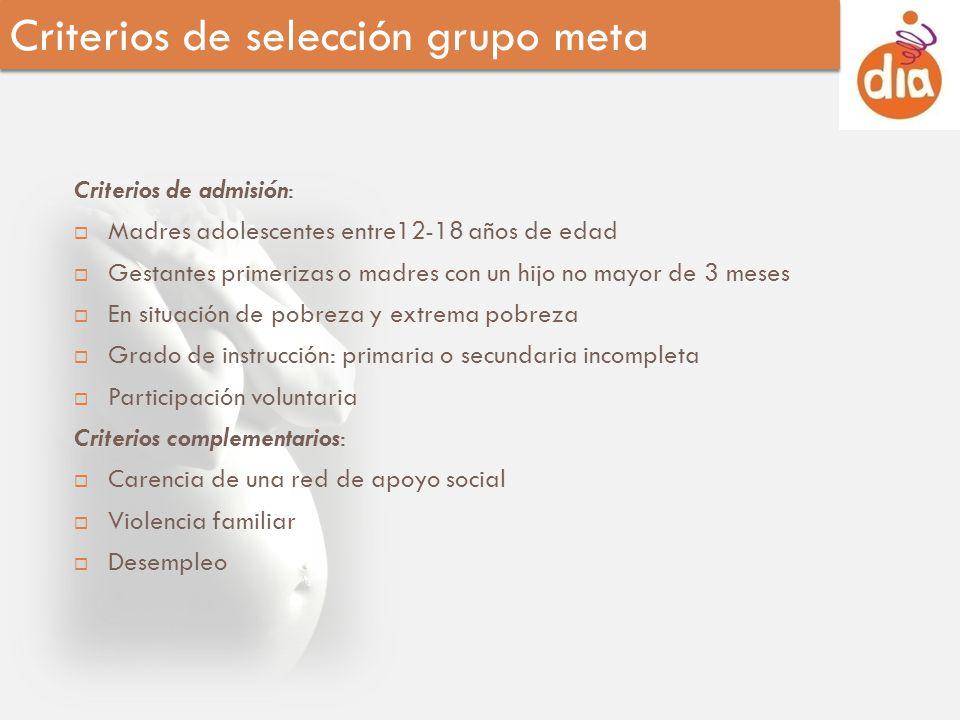 Criterios de selección grupo meta