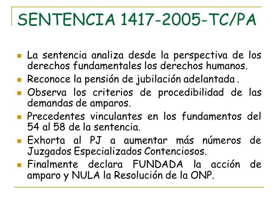 SENTENCIA 1417-2005-TC/PA La sentencia analiza desde la perspectiva de los derechos fundamentales los derechos humanos.