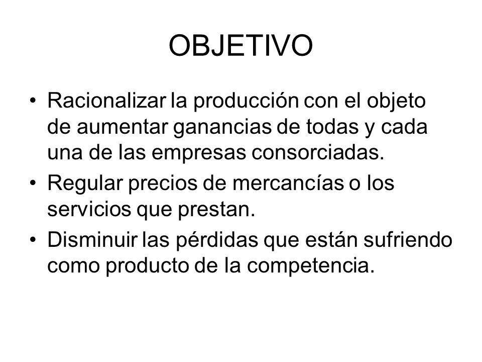 OBJETIVO Racionalizar la producción con el objeto de aumentar ganancias de todas y cada una de las empresas consorciadas.