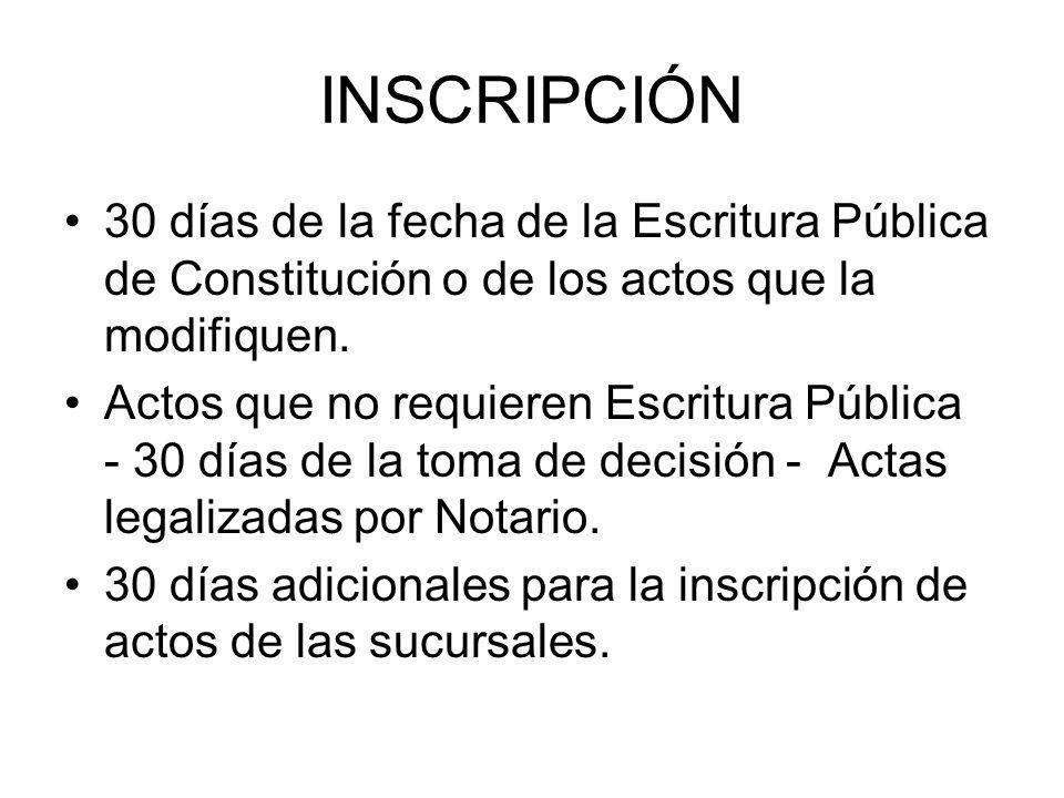 INSCRIPCIÓN 30 días de la fecha de la Escritura Pública de Constitución o de los actos que la modifiquen.