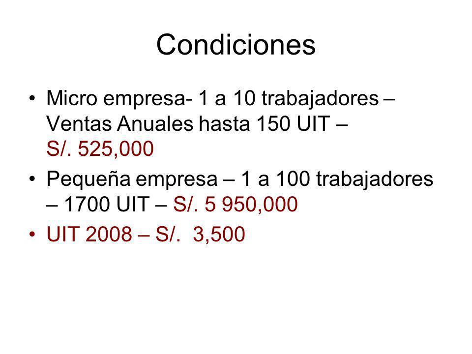 Condiciones Micro empresa- 1 a 10 trabajadores – Ventas Anuales hasta 150 UIT – S/. 525,000.