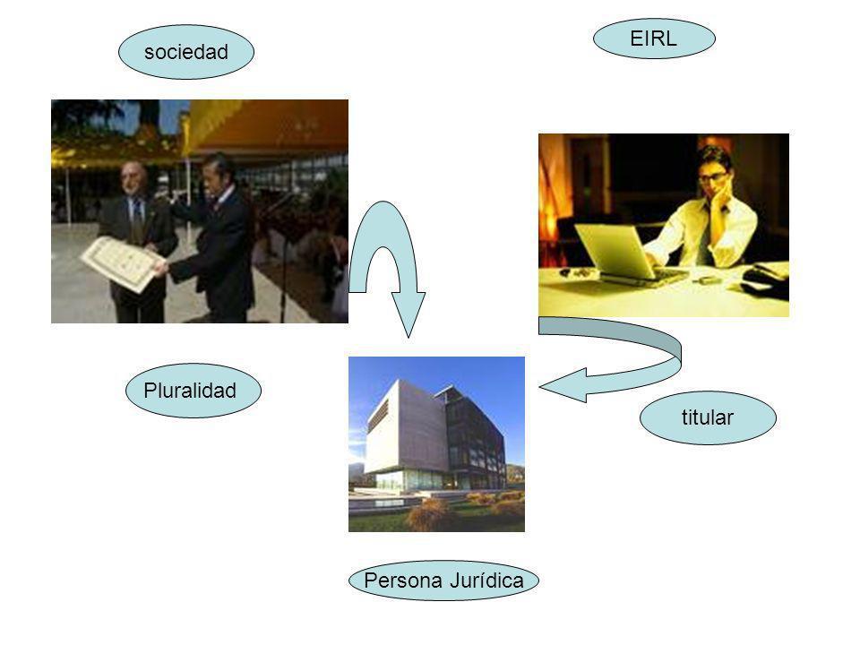 EIRL sociedad Pluralidad titular Persona Jurídica