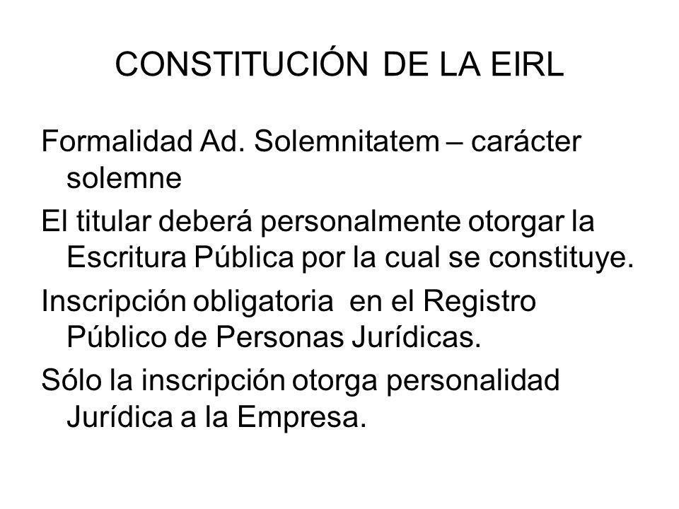 CONSTITUCIÓN DE LA EIRL