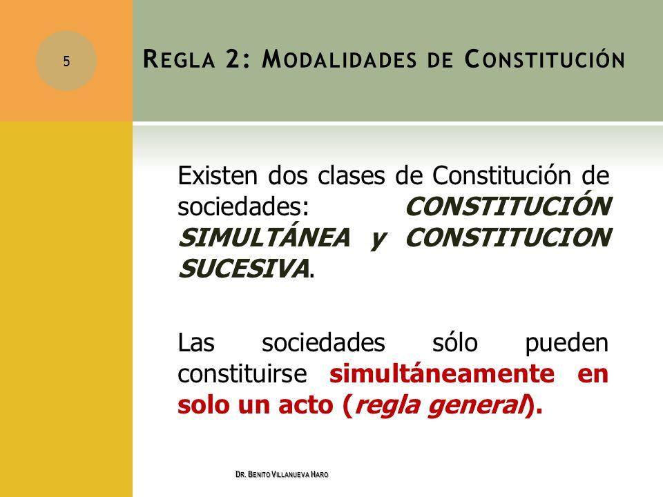 Regla 2: Modalidades de Constitución