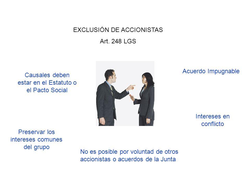 EXCLUSIÓN DE ACCIONISTAS Art. 248 LGS