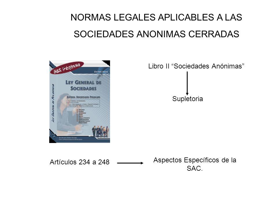 NORMAS LEGALES APLICABLES A LAS SOCIEDADES ANONIMAS CERRADAS
