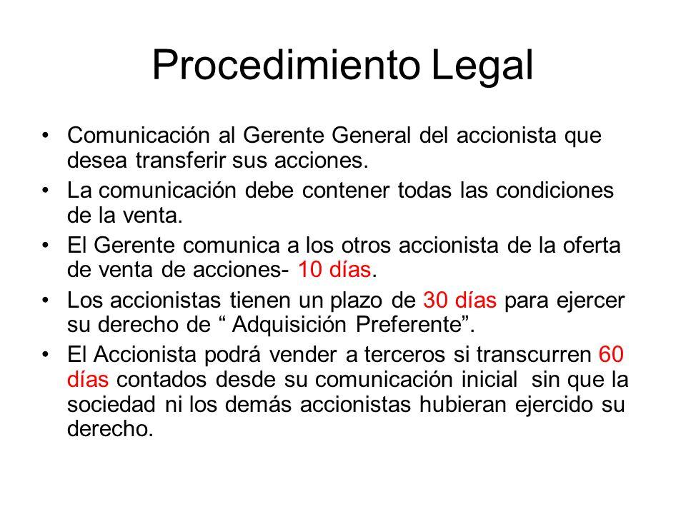 Procedimiento Legal Comunicación al Gerente General del accionista que desea transferir sus acciones.