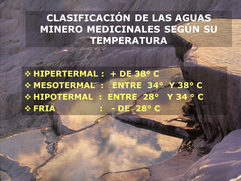 CLASIFICACIÓN DE LAS AGUAS MINERO MEDICINALES SEGÚN SU TEMPERATURA