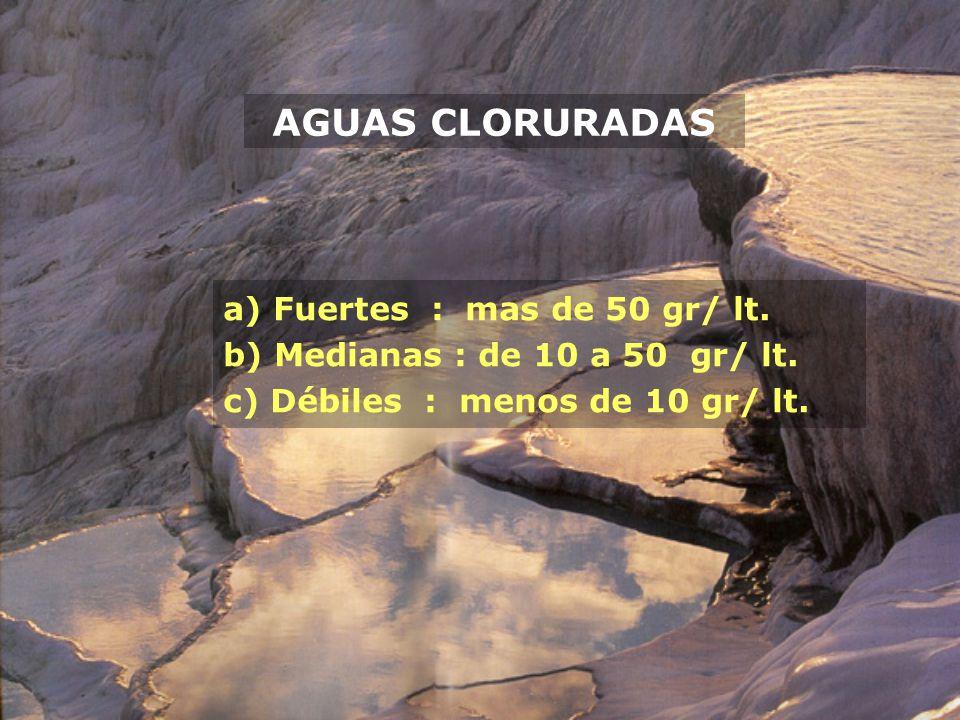 AGUAS CLORURADAS Fuertes : mas de 50 gr/ lt.