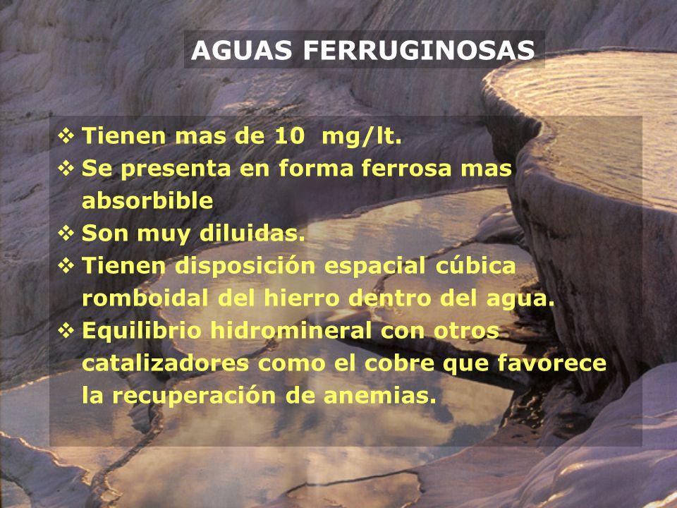 AGUAS FERRUGINOSAS Tienen mas de 10 mg/lt.