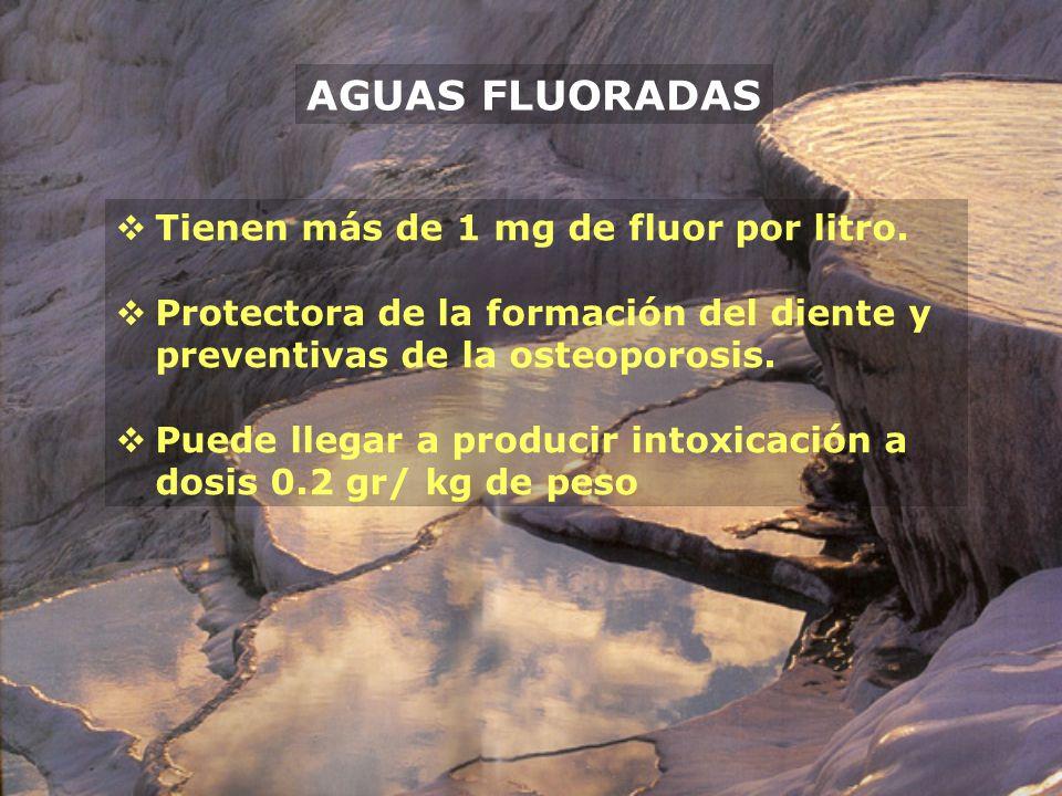 AGUAS FLUORADAS Tienen más de 1 mg de fluor por litro.