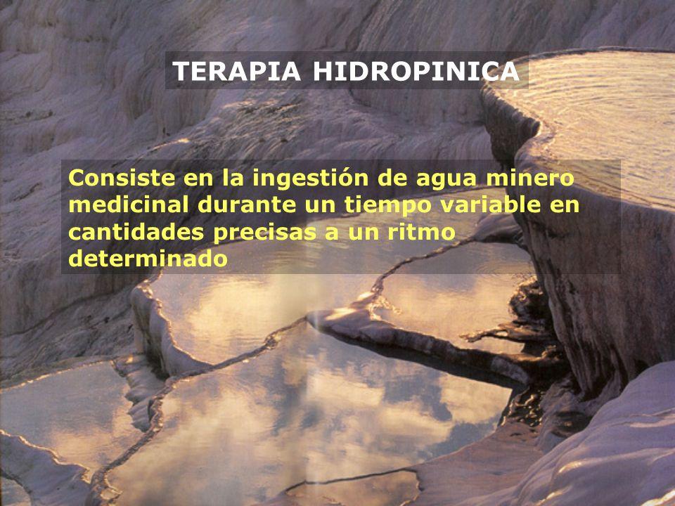 TERAPIA HIDROPINICA Consiste en la ingestión de agua minero medicinal durante un tiempo variable en cantidades precisas a un ritmo determinado.