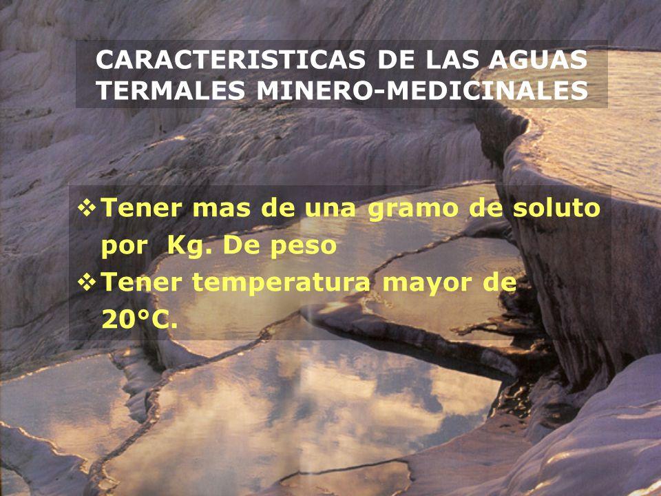 CARACTERISTICAS DE LAS AGUAS TERMALES MINERO-MEDICINALES