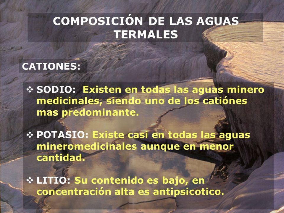 COMPOSICIÓN DE LAS AGUAS TERMALES