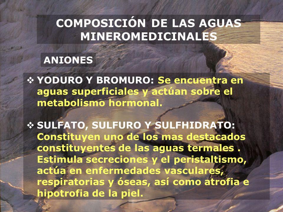 COMPOSICIÓN DE LAS AGUAS MINEROMEDICINALES