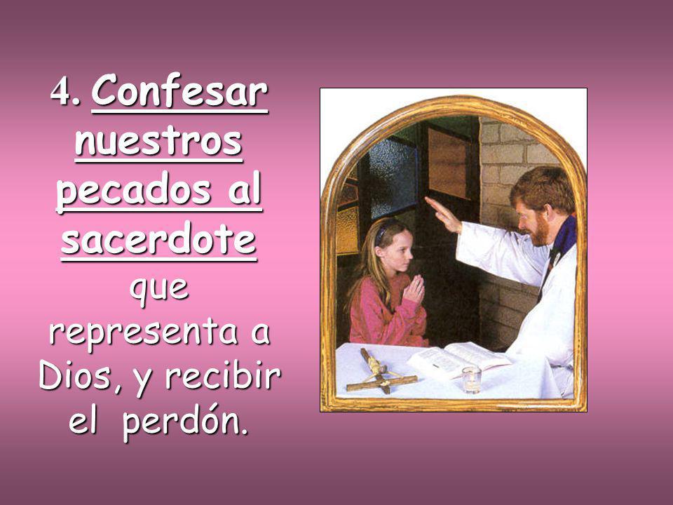 4. Confesar nuestros pecados al sacerdote que representa a Dios, y recibir el perdón.