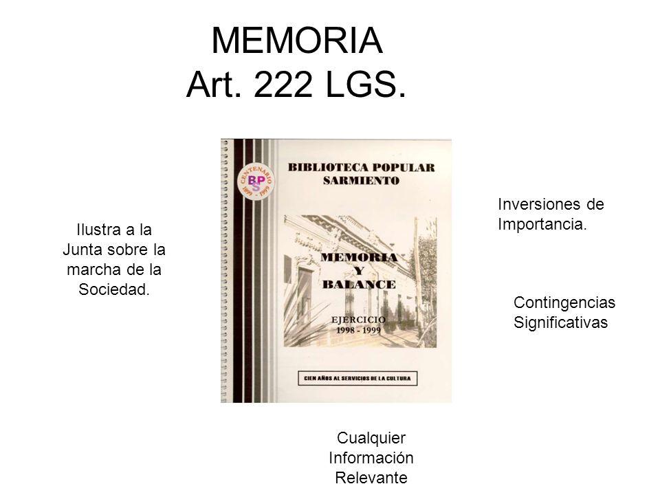 MEMORIA Art. 222 LGS. Inversiones de Importancia.