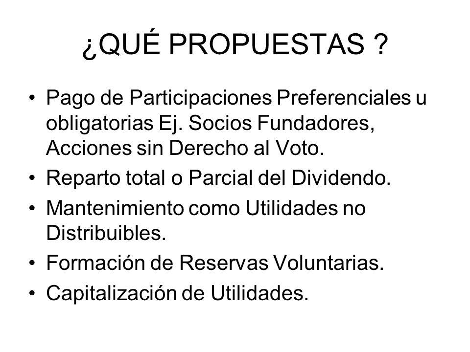 ¿QUÉ PROPUESTAS Pago de Participaciones Preferenciales u obligatorias Ej. Socios Fundadores, Acciones sin Derecho al Voto.