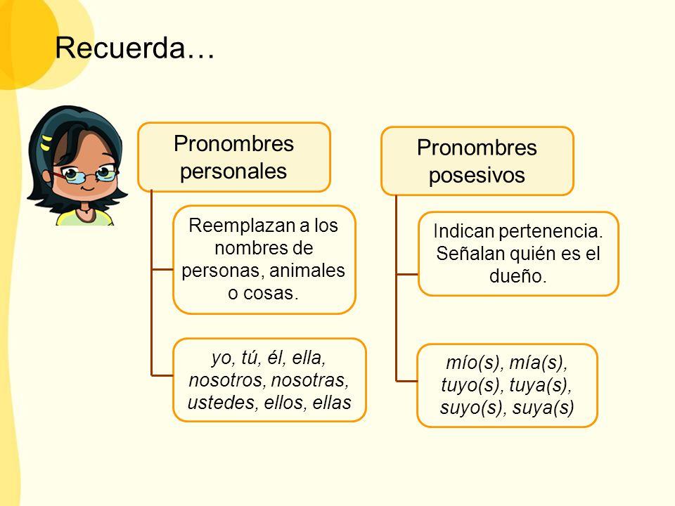 Recuerda… Pronombres personales Pronombres posesivos
