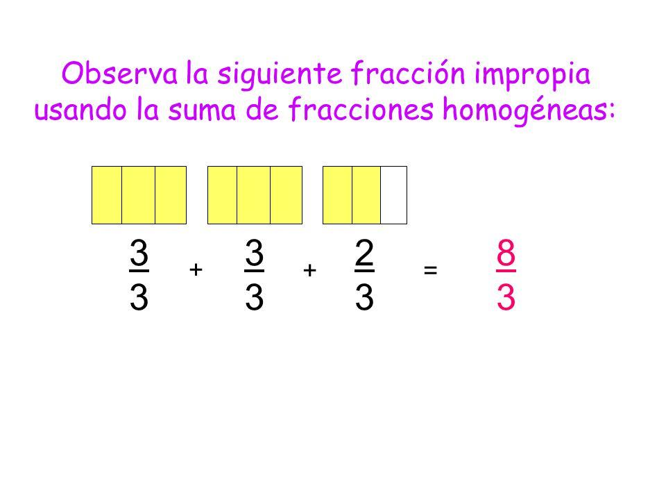 3 3 2 3 8 3 Observa la siguiente fracción impropia